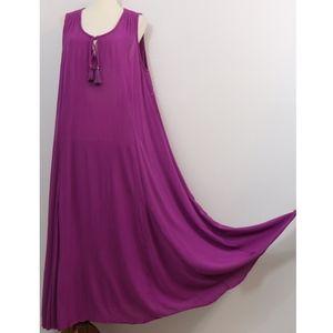 Roaman's Gauzy Purple Sleeveless Trapeze Dress